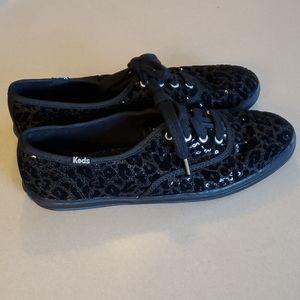 Keds Black Textured Leopard Print Size 6.5